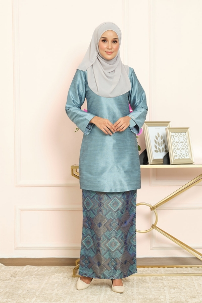 Thania Kurung Pahang - Teal Blue