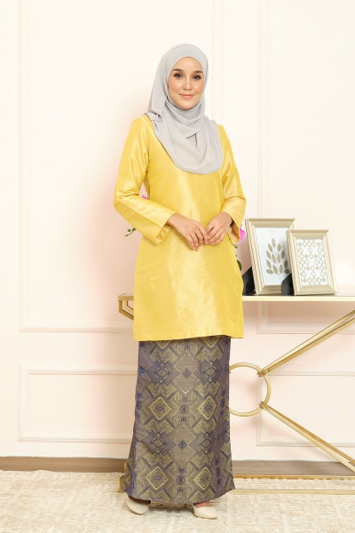 Thania Kurung Pahang - Butter Yellow