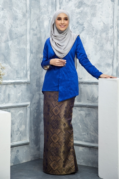 Thalia Silk Brocade - Royal Blue