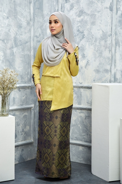 Thalia Silk Brocade - Butter Yellow