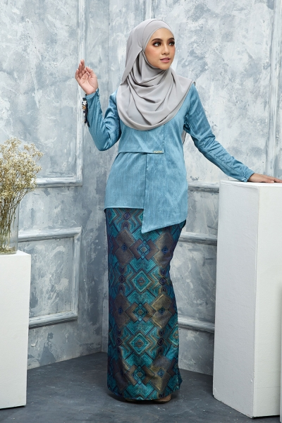 Thalia Silk Brocade - Teal Blue